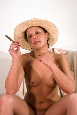A cigar, the hat, and the chair.