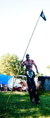 A pirate on stilts.