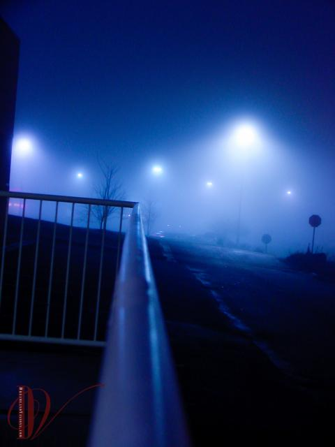 Blue lights in fog.