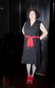 Wendi in a little black dress.