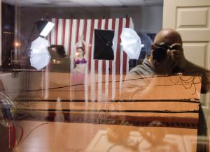 reflected studio in the window.